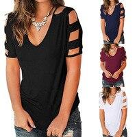 Camisetas de algodón con cuello en V para mujer, camisetas de manga corta de color sólido, camisetas informales holgadas de tamaño Pius para mujer 2021