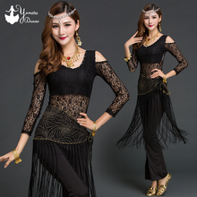New Womens Belly Dance Practice Costume Adultos Tassel Lace Performance Tops and Pants Set Adult