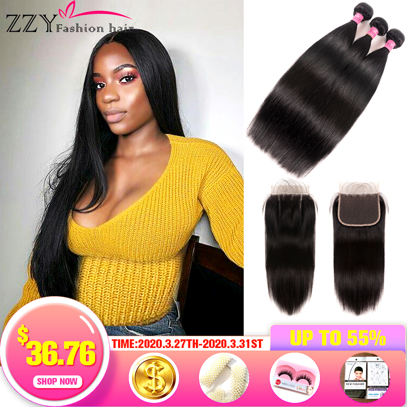 ZZY Fashion Hair Peruvian Hair Bundles With Closure Straight Hair Bundles With Closure Hair Weave Bundles Extensions Non-remy