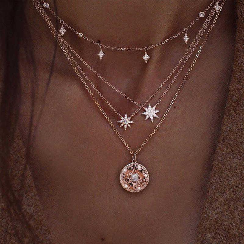 17KM Vintage Moon Map naszyjnik dla kobiet artystyczny wielowarstwowy koło moneta kamień wisiorek naszyjniki gwiazda koraliki Choker biżuteria