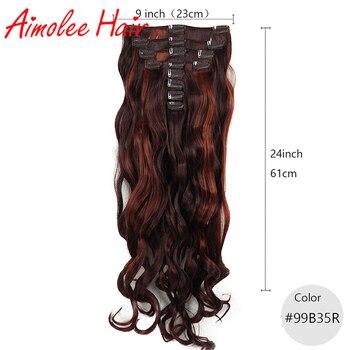 24 cal 8 sztuk/zestaw naturalne długie faliste miedzi czerwony Auburn syntetyczne włosy doczepiane Clip in 16 klip wysokiej temperatury włókna