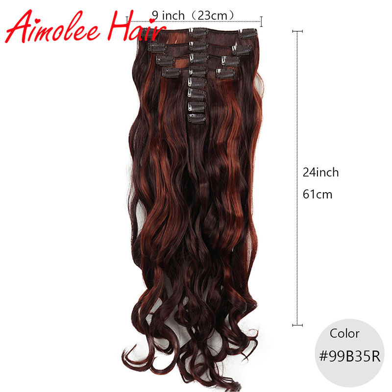 24inch 8pcs/set Natural Long Wavy Copper Red Auburn Synthetic Hairpiece Clip In Hair Extensions 16 Clip High Temperature Fiber