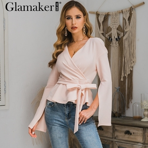 Glamaker Split up sleeve blouse women tops Elastic knitted fabric blouse shirts feminina top female Ruffle sexy v neck ladie top
