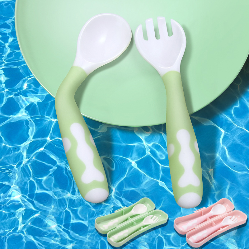 2Pcs Bendable Food Grade Baby Spoon Fork Set With Storage Box Toddler Learning Tableware Flatware Utensil Infant Feeding Cutlery
