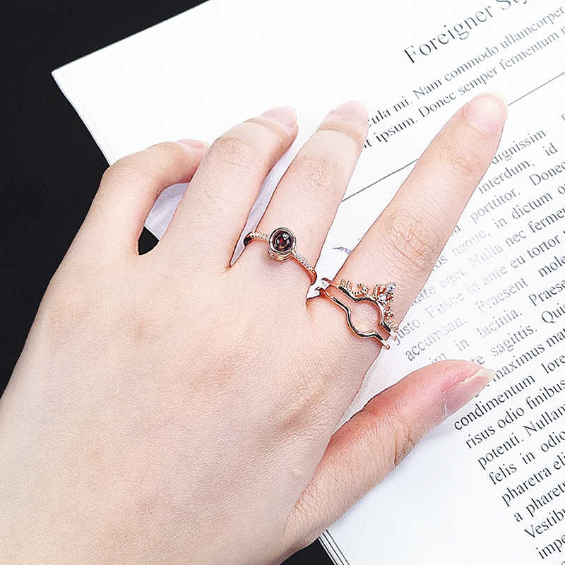 """Rose Gold 100 Languages """"I Love You"""" Memory Crown Couple Rings New  Engagement Wedding Ring Set 925 Sterling Silver Women Jewelry