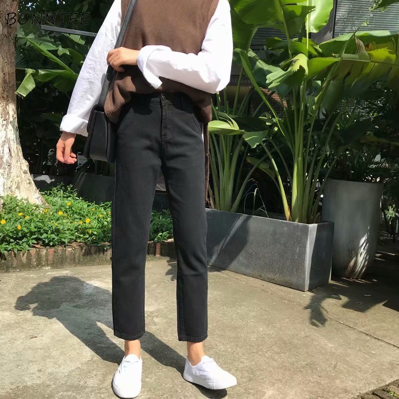 Plus Size Women Black Jeans High Waist Solid All Match Streetwear Womens Korean Fashion Top Shop Stylish 5XL Trousers Denim Soft