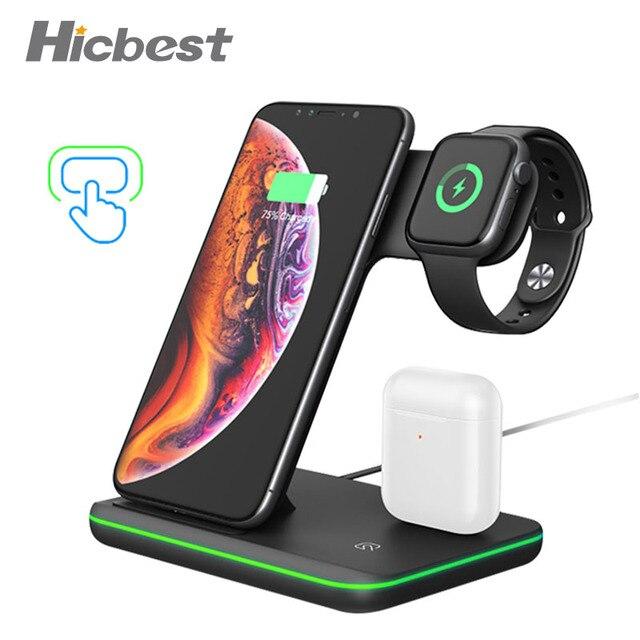 15 ワット 3 で 1 ワイヤレス充電充電器iphoneの時計airpods誘導充電器 3in1 iphone × xr 8 プラスリンゴの時計 4 3 2 1