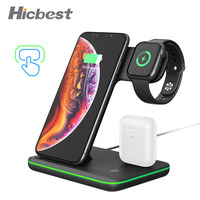 15W 3 in 1 무선 충전 충전기 for iPhone Watch Airpods 유도 충전기 3in1 for iPhone X XR 8 Plus Apple Watch 4 3 2 1 휴대폰 충전기 전화기 & 통신 -