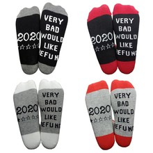 Hommes femmes contraste couleur coton équipage chaussettes drôle disant 2020 très mauvais voudrais remboursement lettres imprimé nouveauté décontracté