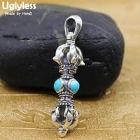 Uglyless Unisex Buddhistic Vajra Pendants Men Women 925 Silver Ethnic Lapis Agate Turquoise Necklaces NO Chains Thai Silver P847