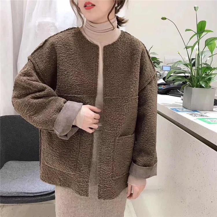 Winter Short   Suede     Leather   Jacket Women Large Size Female Faux Fur   Suede   Jacket Woman Brown Gray Cardigan Warm Winter Coat