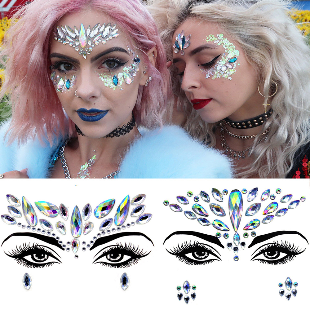 2020 New Trendy 3D Crystal Sticker Colored Shiny Acrylic Drill Sticker Masquerade Face Shiny Decoration Temporary Tattoo Sticker