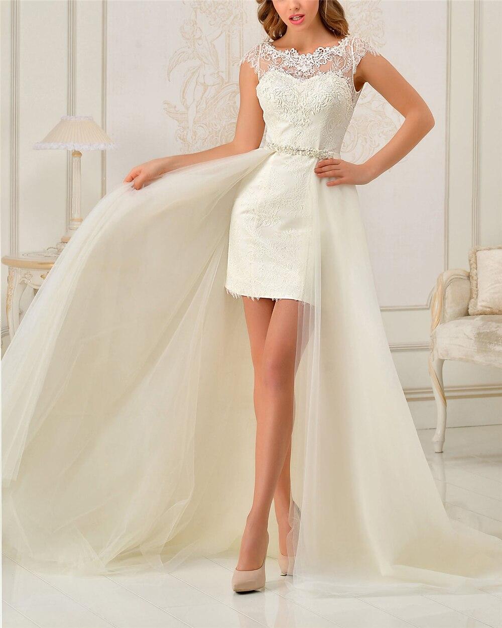 Ivory Lace Tulle Wedding Dresses Applique Open Back Cap Sleeves Detachable Skrit Sashes Appliques Bridal Dress Vestido De Noiva