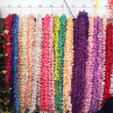 200CM Hydrangea vine wedding Garlands flowers for scrapbooking home Bathroom decoration accessories artificial flowers wholesale(China)