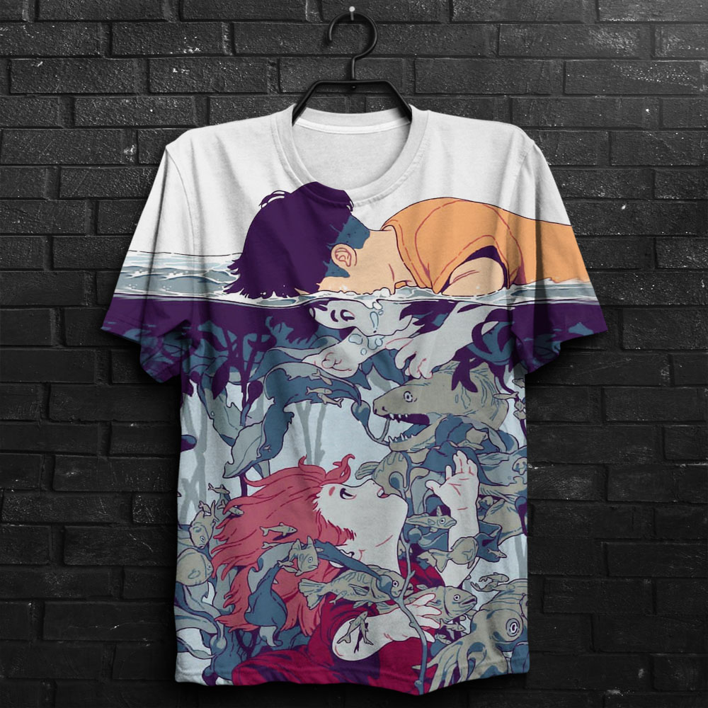 2019 Hot New Customize Design Tees Ponyo 3D Printed Men's Tops Unique Clothing Short Sleeve T Shirt Drop Shipping