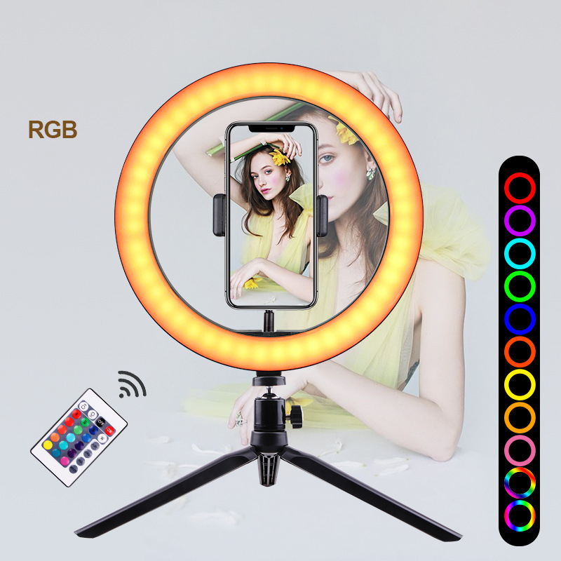 16 colors 10inch RGB Ring Light Phone Selfie LED Photography Adjustable Dimmable Light Remote Controlling Fill Lamp Live YouTube