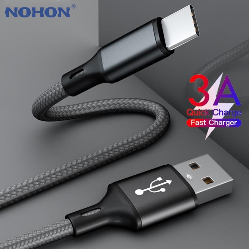 Кабель USB Type C для Samsung A50 S10 S9 Quick Charge 3,0 USB C кабель для Xiaomi Mi 9 Type-C Быстрая зарядка длинный короткий провод 2 м 3 м