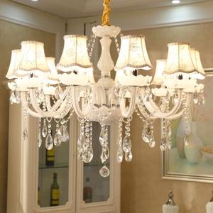 Image 4 - Branco moderno luzes do candelabro de cristal lâmpada lustres para sala estar quarto luminária cristal lustres iluminação