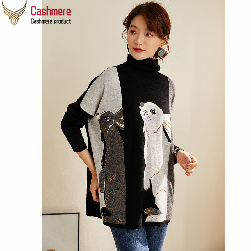Turtleneck Stitching Pure Cashmere Sweater Women 2019 Autumn And Winter New Jacquard Loose Lazy Wind Thick White Sweater Women