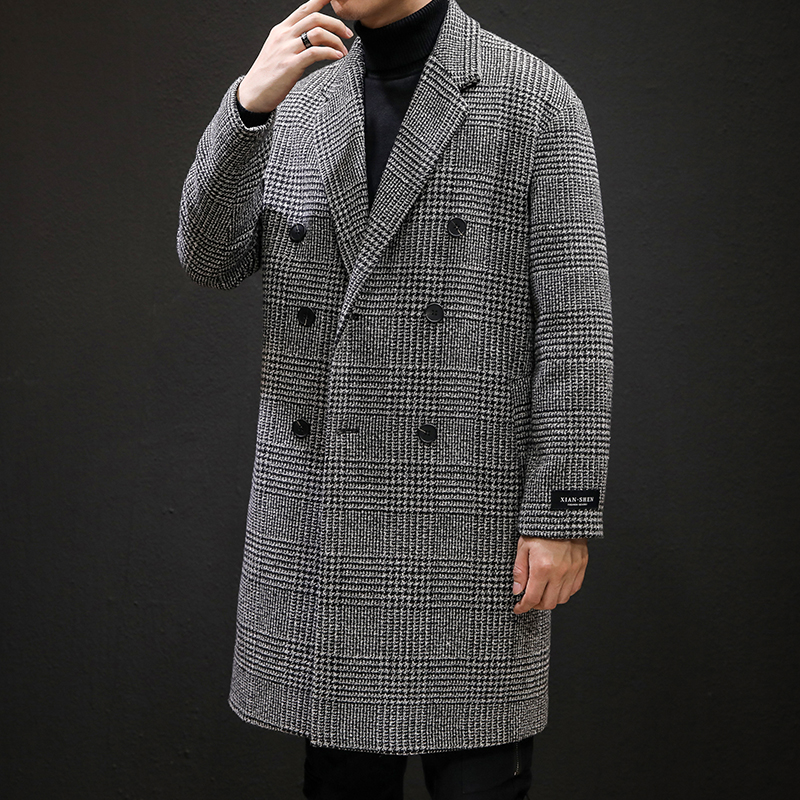 YASUGUOJI Casual Double Breasted Mens Wool Overcoat Winter 2019 Houndstooth Jacket Men Turn-down Collar Long Woollen Wind Coat 1