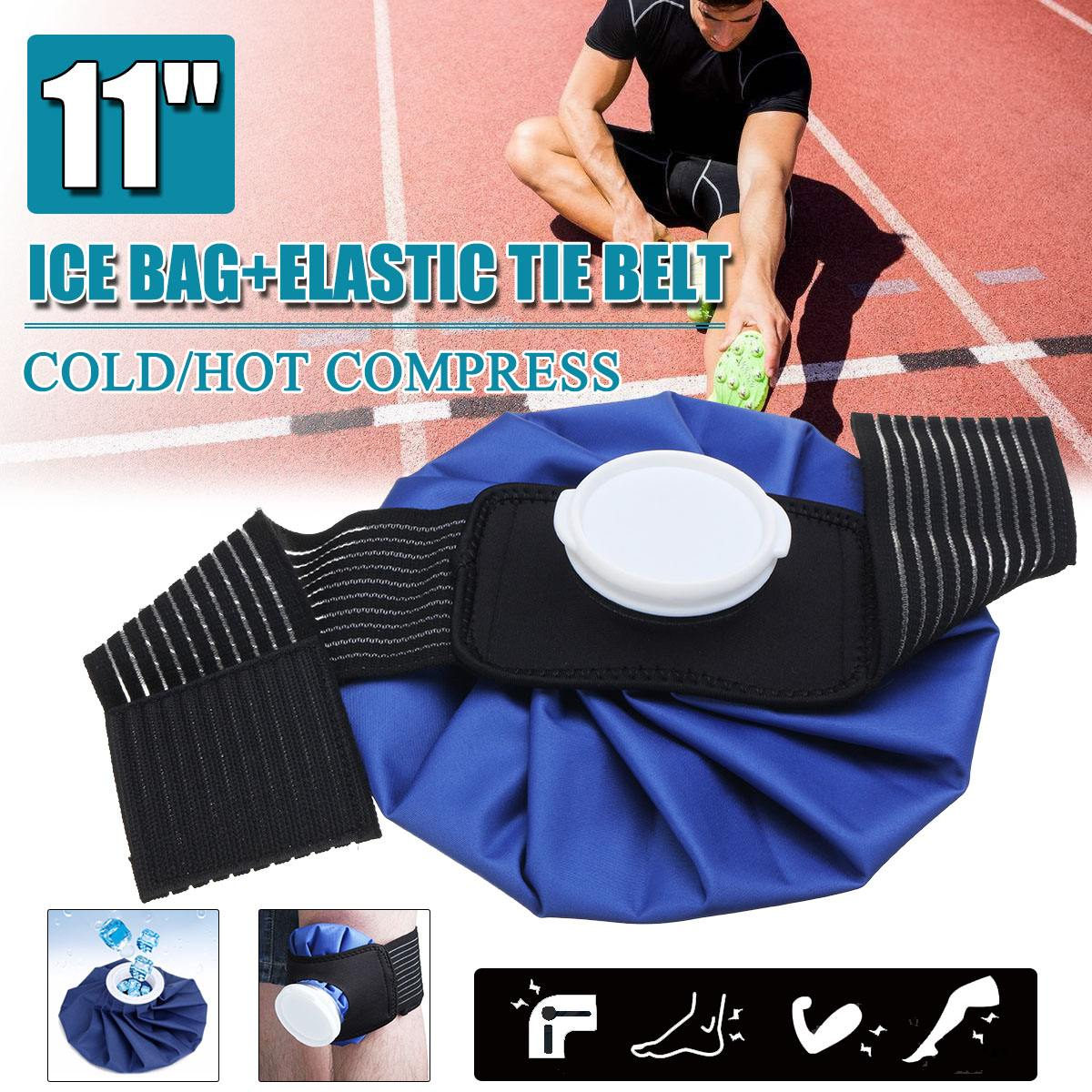 11'' Ice Bag Pack Protector Elastic Tie Belt Set Reusable Knee Head Leg Injury Pain Relief Ice Bag Outdoor Sport First Aid