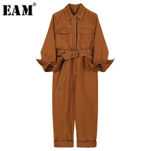 [EAM] Loose Fit Waistbelt Pocket Women Jumpsuit New High Waist Pocket Stitch Pants Fashion Tide Spring Autumn 2019 1A603(China)