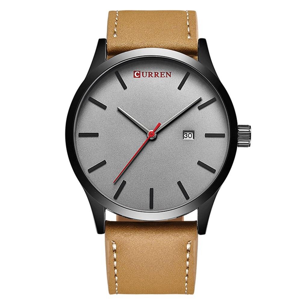 8214 Watch Men Top Brand Luxury Leather Quartz Wristwatch Simple Men's Business Dress Watches Clock 2019 Fashion Men Watch