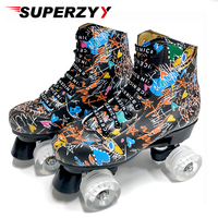 Graffiti Microfiber Roller Skates Double Line Skates Women Men Adult Two Line Skating Shoes with White PU 4 Wheels Training