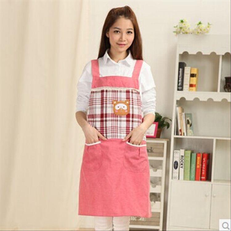 新製品韓国スタイル格子縞のクマのスタイルのキッチンかわいい若い果樹園マニキュアベビーショップスタッフ提供エプロン