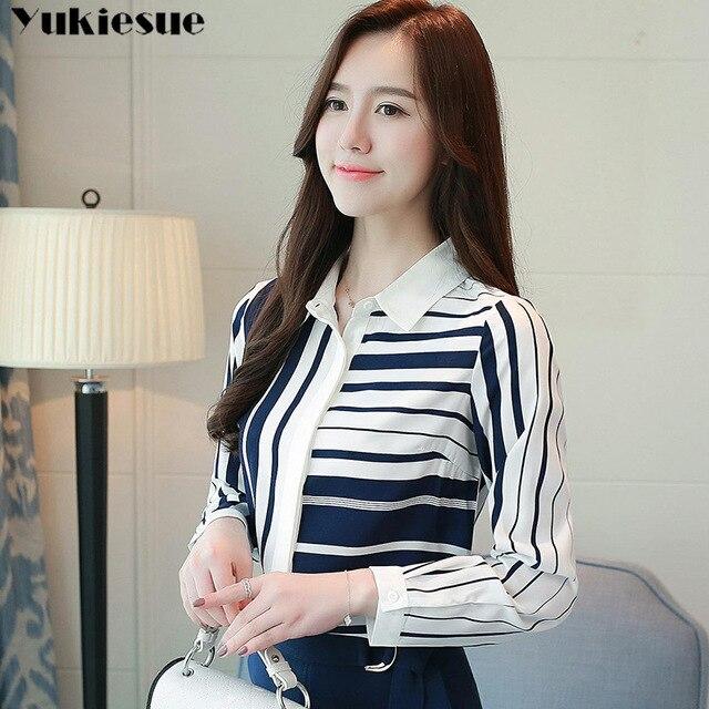 Classical Style Chiffon Blouse Fashion Women striped Long Sleeve Shirt Office Lady Women Tops Blusas Femininas Camisas Mujer 2
