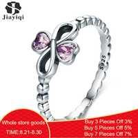 Jiayiqi Romantische 100% 925 Sterling Silber Unendlichkeit mit Herz Leucht Rosa CZ Finger Ring charms Für Frauen Silber Schmuck 2019