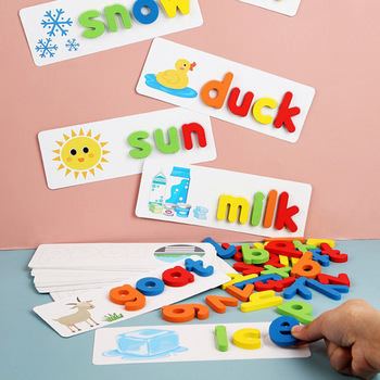 NEW Kids Wooden Alphabet Letter Game English Learning Cards Set Word Spelling Practice Game Toy Children's Educational Toys image