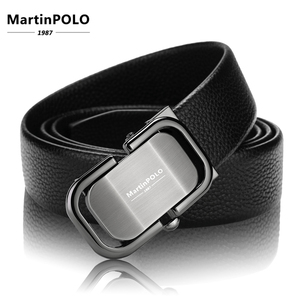 Image 3 - MartinPOLO 새로운 도착 남자의 가죽 벨트 럭셔리 자동 버클 벨트 남자 블랙 남자 벨트 정품 가죽 MP0301P