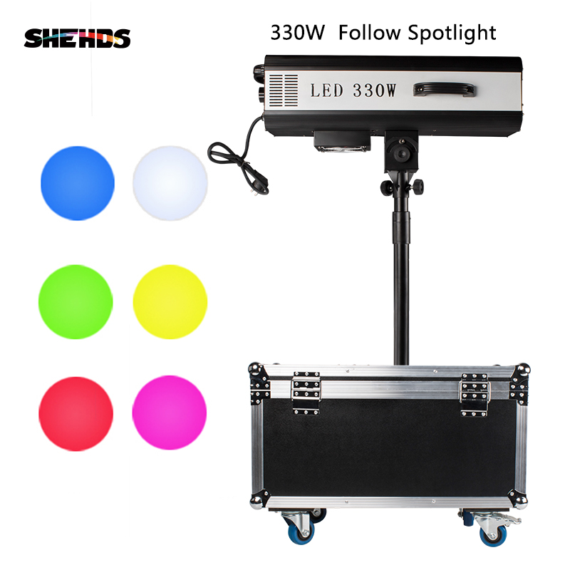 330W LED Follow Spot Light With Flight Case Follow Tracker DMX512 440W Fresnel For Wedding/Theater Performance W/Stand