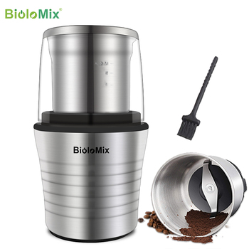 2-in-1 Wet And Dry Double Cups 300W Electric Spices And Coffee Bean Grinder Stainless Steel Body And Miller Blades
