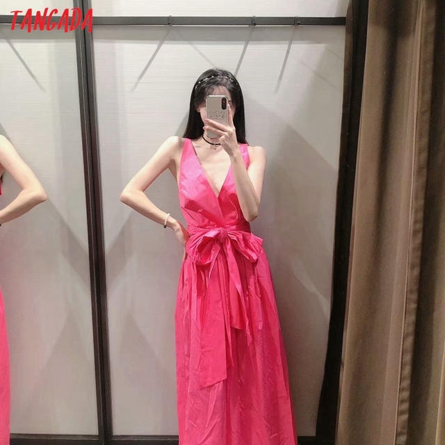 Tangada Women Pink Cotton Dress Back Bow Sleeveless Backless 2021 Summer Fashion Lady Dresses 3H130 2