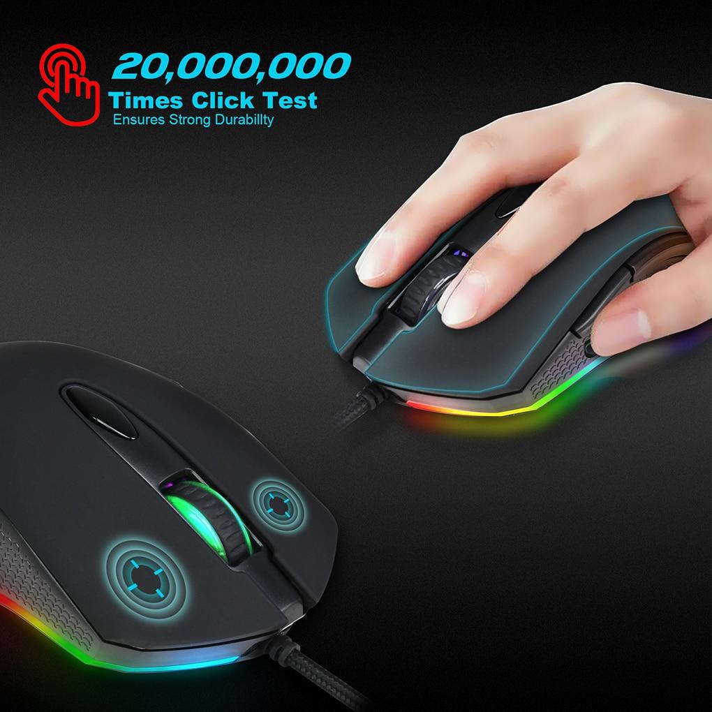 Gaming Mouse USB Wired 6 Keys 200-4800 DPI Optical Sensor Desktop Computer Laptop Mouse RGB Backlit