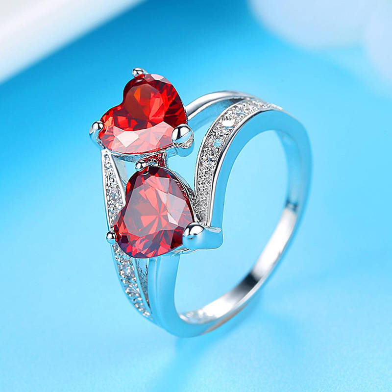 Transparent Red Blue Tricolor Zircon Ring Girlfriend Birthday Present Glamour Couple Double Love Engagement Ring Female Ring(China)