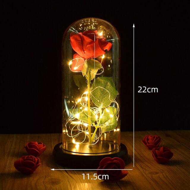 Beautiful Battery Powered LED Rose Glass Bottle String Light Desk Lamp Romantic Valentine's Day Birthday Gift Home Decoration 3