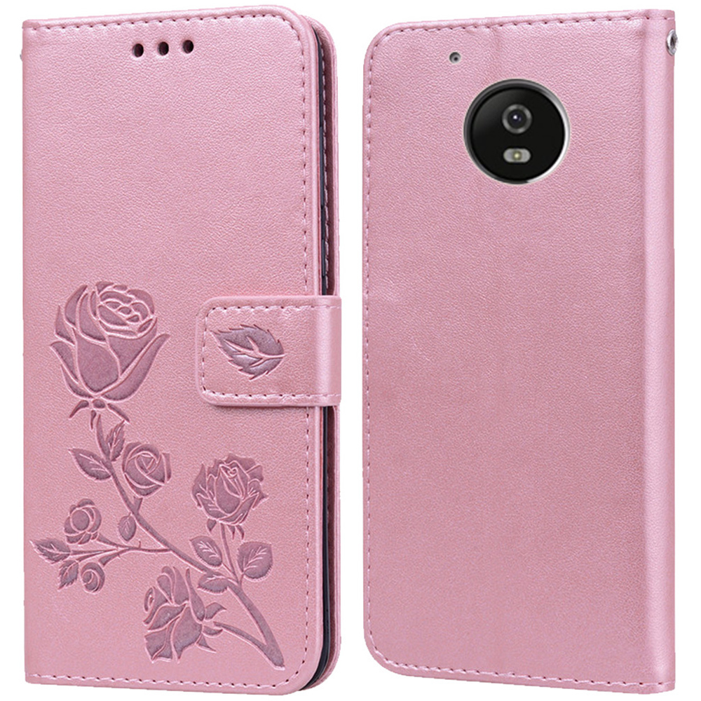 Luxury Leather Flip Book Case for <font><b>Motorola</b></font> Moto <font><b>E4</b></font> <font><b>XT1762</b></font> XT1766 XT1763 Rose Flower Wallet Stand Phone Cover image