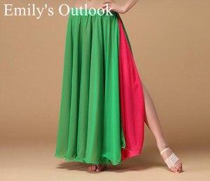 Image 4 - Bayan göbek dans eteği 2 renkler moda Bohemia çingene Maxi etek dansçı uygulama elbise egzotik giyim siyah kırmızı karışık