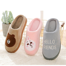 Купить с кэшбэком 2019 hot winter warm slipper woman Home Cartoon rabbit Bear cotton Floor Slippers ladies lover couple shoes women's slippers