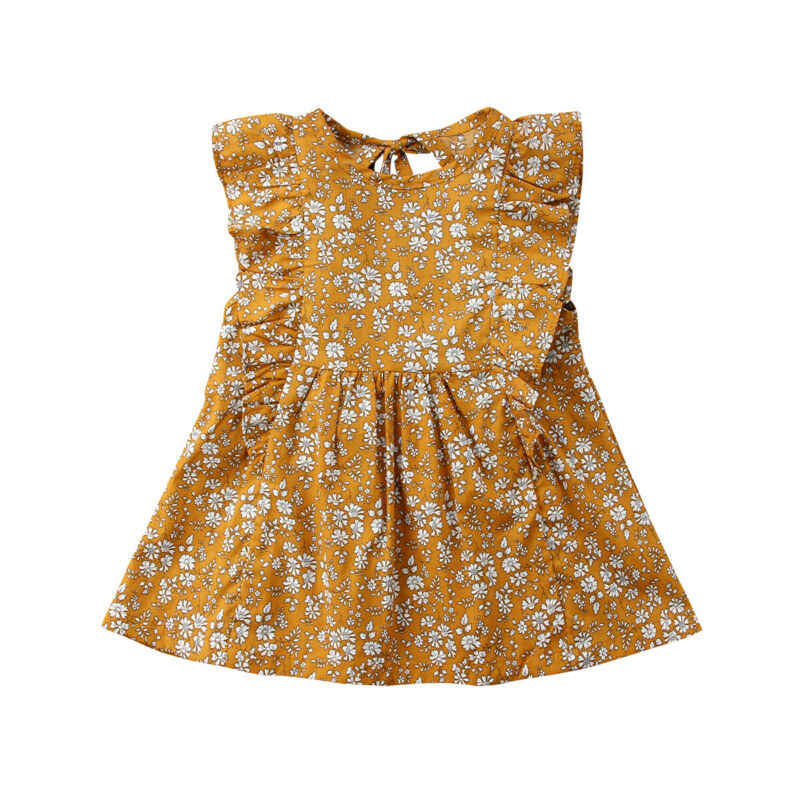 Fashion Newborn Infant Baby Girls Vintage Ruffles Floral Dresses Sleeveless Summer Dress Sundress 0-4Y