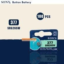 100 pces novo sony 100% original 377 sr626sw 626 sr626 v377 ag4 relógio bateria botão moeda célula feita no japão