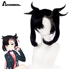 Synthetic-Wig Halloween Pokmon Bangs Short Party Black Double-Braid ANOGOL with for Costume