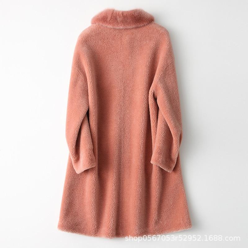 2020 Autumn Winter Real Fur Coat Women Mink Fur Collar Korean Sheep Shearing Wool Jacket Long Fur Coats 868672 KJ2583