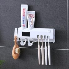 UV Toothbrush Sterilizer for Bathroom 2-holes/Squeezers/Solar-energy/Toothbrush Storage-Holder