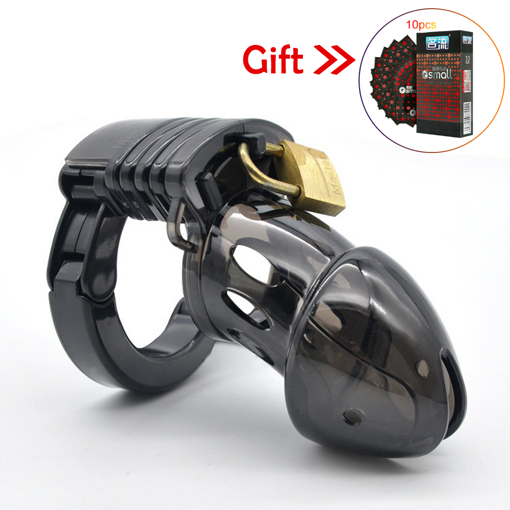 Male Chastity Cage Cock Lock Cage Sex Toys For Men Penis Belt Lock With Four Penis Rings With Cage Chastity Lock Sex Shop Condom