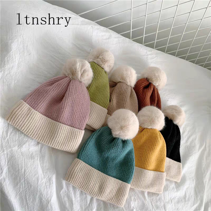 2019 New Women Winter Bonnet Soft Thick Fleece Lined Dual Layer Knitted Beanie With Faux Fur Pom Pom Hats Fashion Outdoor Sports