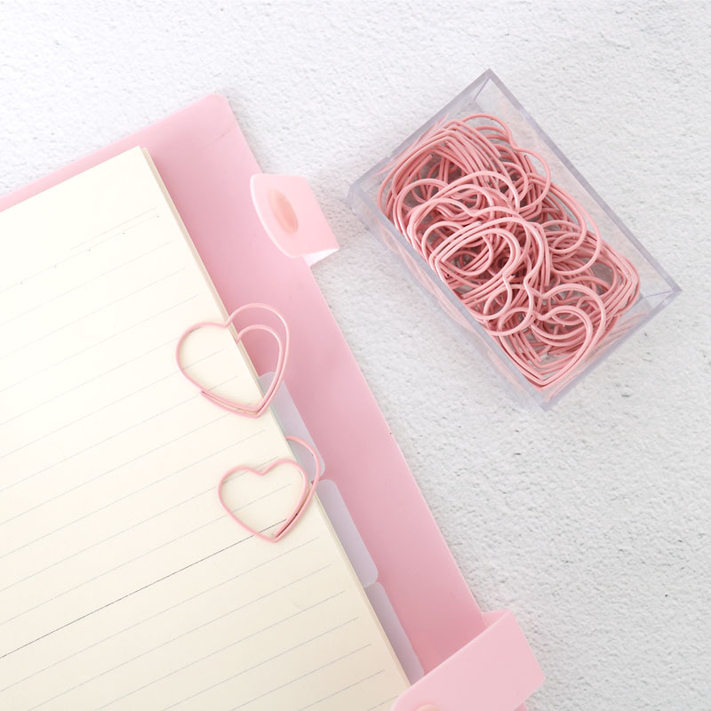 25Pcs Cute Pink Love Heart Design Office School Paper Clips Stationery,candy Student Bookmark